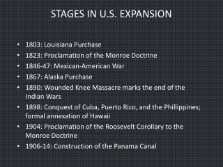 STAGES IN U.S. EXPANSION