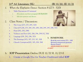 11 th  A1 Literature (SL )      (B) 11 / 20 ,  (E) 11 / 21