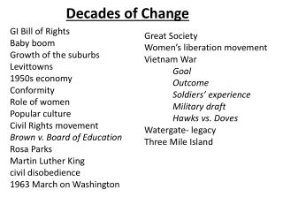 Decades of Change
