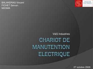 CHARIOT DE MANUTENTION ELECTRIQUE
