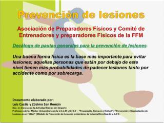 Decálogo de pautas generales para la prevención de  lesiones