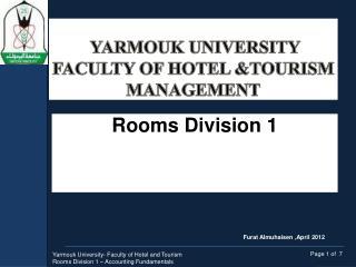 Yarmouk  University Faculty of Hotel &Tourism Management