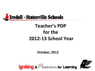 Teacher's PDP  for the  2012-13 School Year