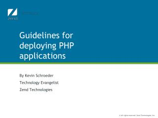 Guidelines for deploying PHP applications