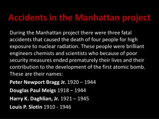 Accidents in the Manhattan project