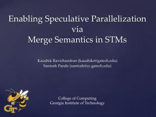 Enabling Speculative Parallelization via Merge Semantics in STMs