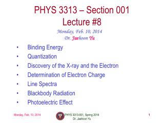 PHYS  3313  – Section 001 Lecture  #8