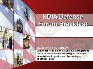 NDIA Defense Forum Breakfast