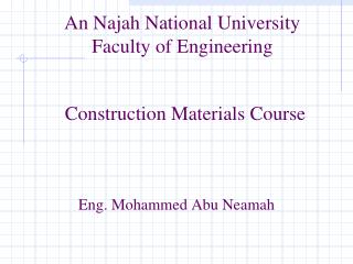 An Najah National University Faculty of Engineering
