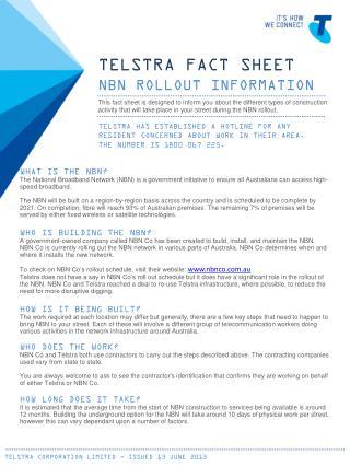 TELSTRA FACT SHEET