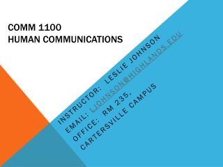 COMM 1100 Human Communications