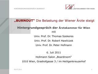 """""""BURNOUT""""  Die Belastung der Wiener Ärzte steigt"""