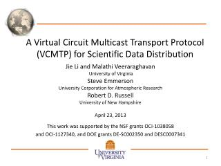 A Virtual Circuit Multicast Transport Protocol (VCMTP) for Scientific Data Distribution