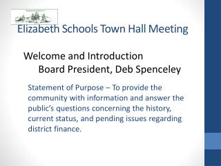 Elizabeth Schools Town Hall Meeting