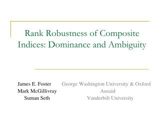 Rank Robustness of Composite Indices: Dominance and Ambiguity