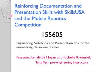 Engineering Notebook and Presentation tips for the engineering classroom teacher