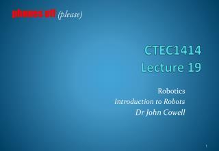 CTEC1414 Lecture  19