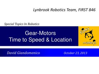 Gear-Motors Time to Speed & Location