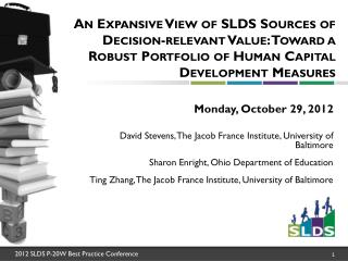 Monday, October 29, 2012 David Stevens,  The Jacob France Institute, University of Baltimore