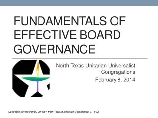 Fundamentals of Effective board Governance