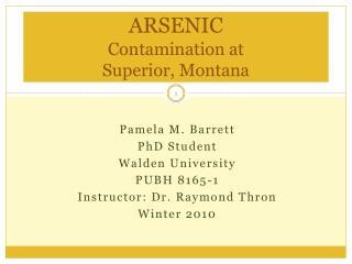 ARSENIC Contamination at  Superior, Montana