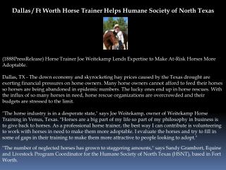 Dallas / Ft Worth Horse Trainer Helps Humane Society of Nort