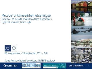 KS lunsjseminar - 19. september 2011 - Oslo Seniorforsker Cecilie Flyen Øyen, SINTEF Byggforsk