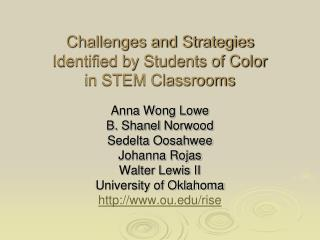 Challenges and Strategies Identified by Students of Color in ...