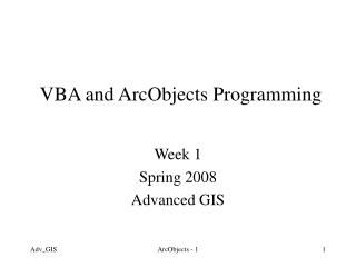 VBA and ArcObjects Programming