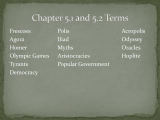 Chapter 5.1 and 5.2 Terms