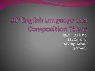 AP English Language and Composition Terms