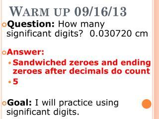 Warm  up 09/16/13
