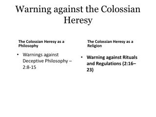 Warning against  the  Colossian  Heresy