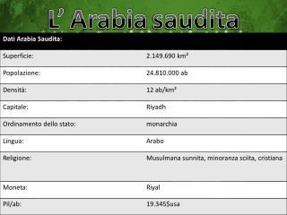 L' Arabia saudita