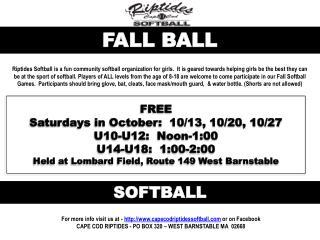 FREE Saturdays  in  October :  10/13, 10/20, 10/27 U10-U12:  Noon-1:00 U14-U18:  1:00-2:00