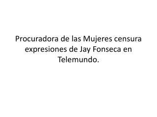 Procuradora de las Mujeres censura expresiones de  Jay  Fonseca en Telemundo.