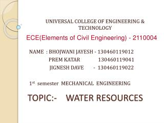 TOPIC:-    WATER RESOURCES