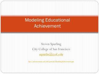 Modeling Educational  Achievement