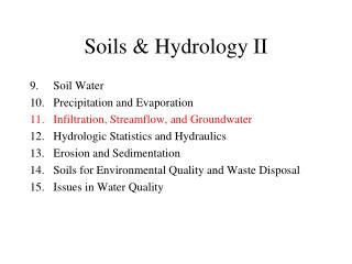 Soils & Hydrology II