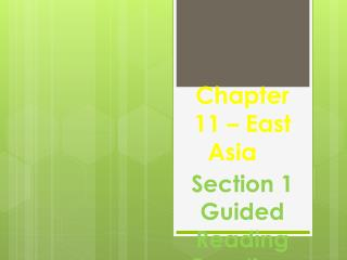Chapter 11 – East Asia