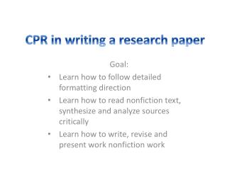 CPR  in writing a research paper