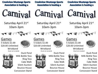 Creekview Mustangs Sports Association is hosting a