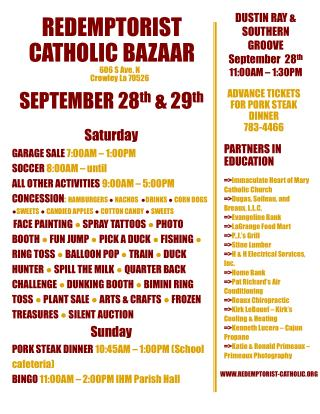Redemptorist catholic bazaar
