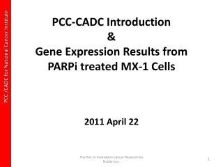 PCC-CADC Introduction  &  Gene Expression Results from  PARPi  treated MX-1 Cells