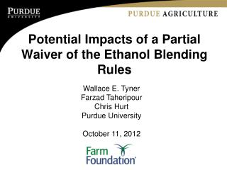 Potential Impacts of a Partial Waiver of the Ethanol Blending Rules