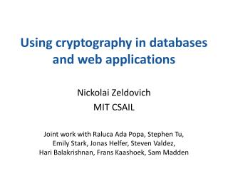 Using cryptography in databases and web applications