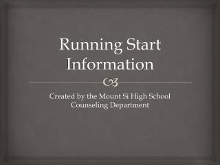 Running Start Information