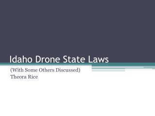 Idaho Drone State Laws