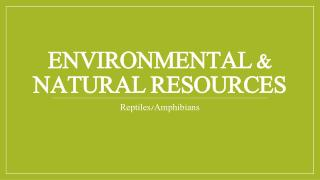 Environmental & Natural Resources