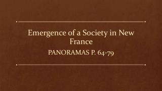 Emergence of a Society in New France